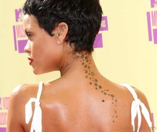 Back Neck Tattoo Of Stars