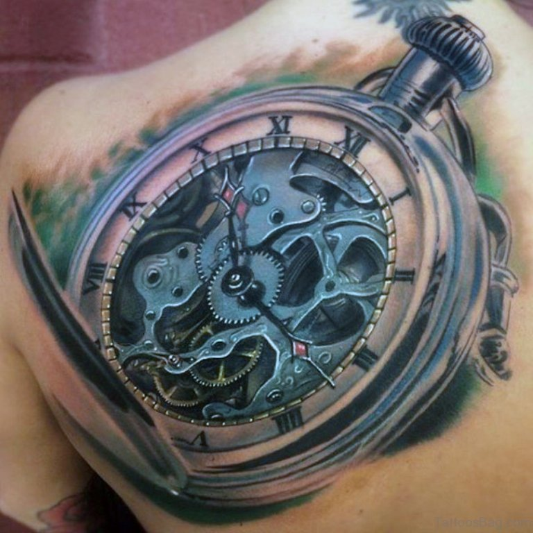 b68c0fd3c6025 Back Old School Clock Tattoo For Men