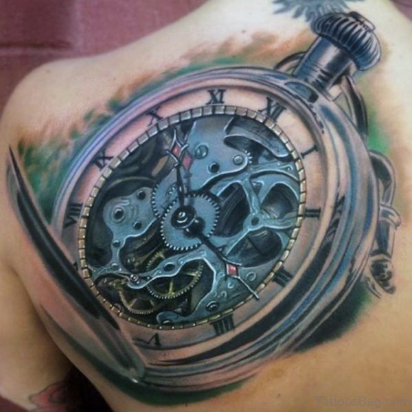 Back Old School Clock Tattoo For Men