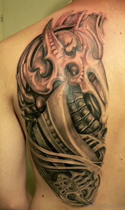 Back Shoulder Rip Skin Tattoo