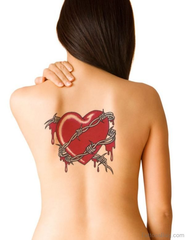 Barb Wire Heart Tattoo On Girls Back