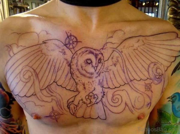 Barn Owl Tattoo On Chest