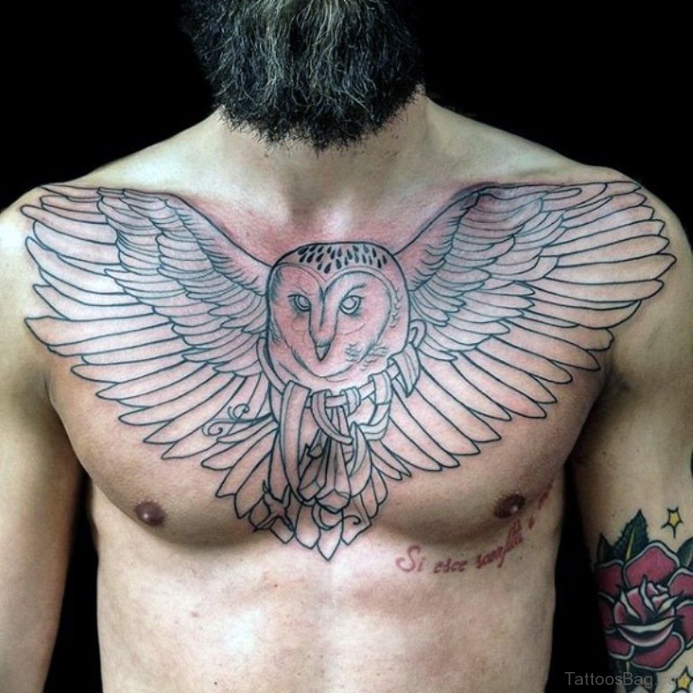 50 attractive owl tattoos designs on chest. Black Bedroom Furniture Sets. Home Design Ideas