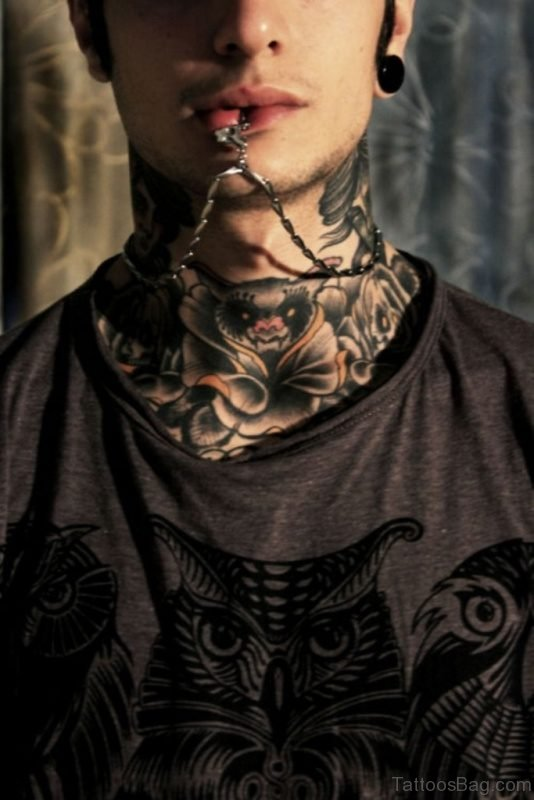 Bat Neck Tattoo