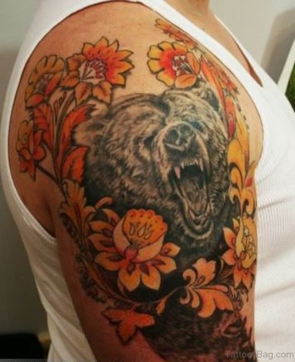 Bear And Flowers Tattoo Design