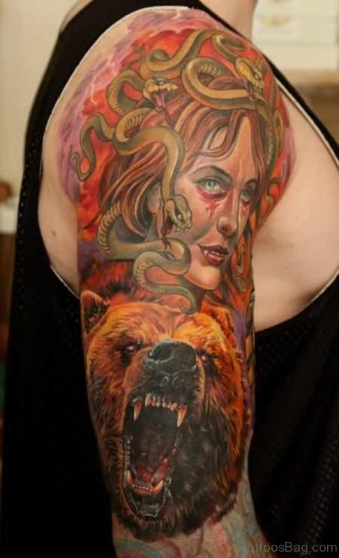 Bear And Medusa Tattoo On Shoulder