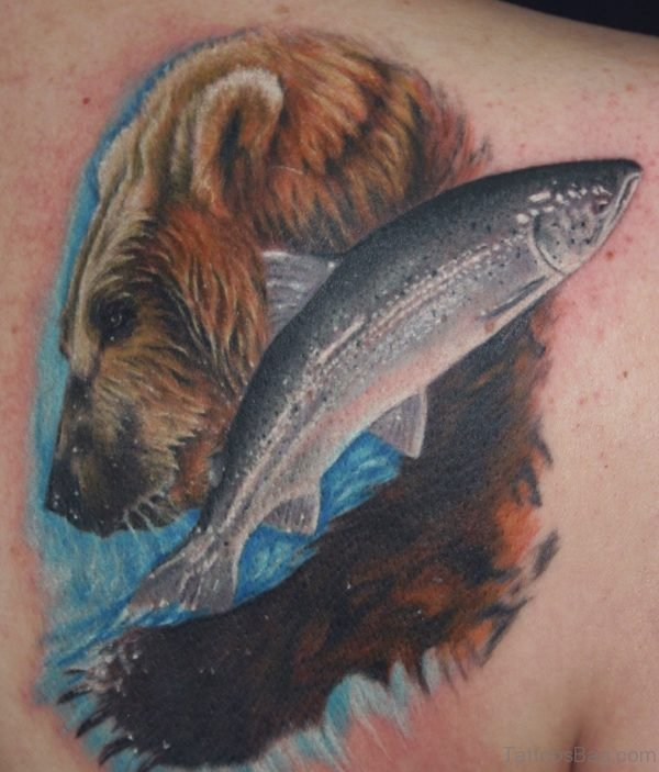 Bear and Fish Tattoo On Back