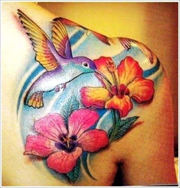 Beautiful Hummingbird Tattoo On Back