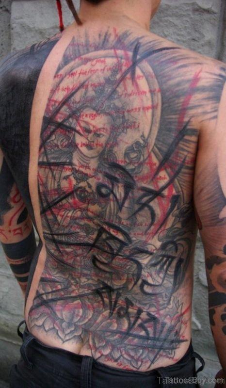 Beautiful Buddhist Tattoo Design  On Back
