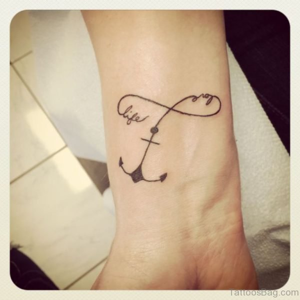 Beautiful Anchor And Infinity Tattoo