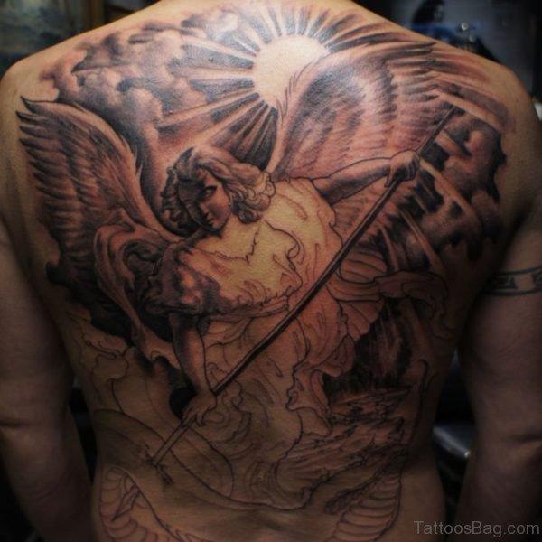 Beautiful Angel Tattoo On Back