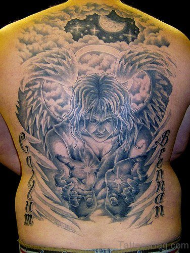Beautiful Angel Tattoo On Full Back