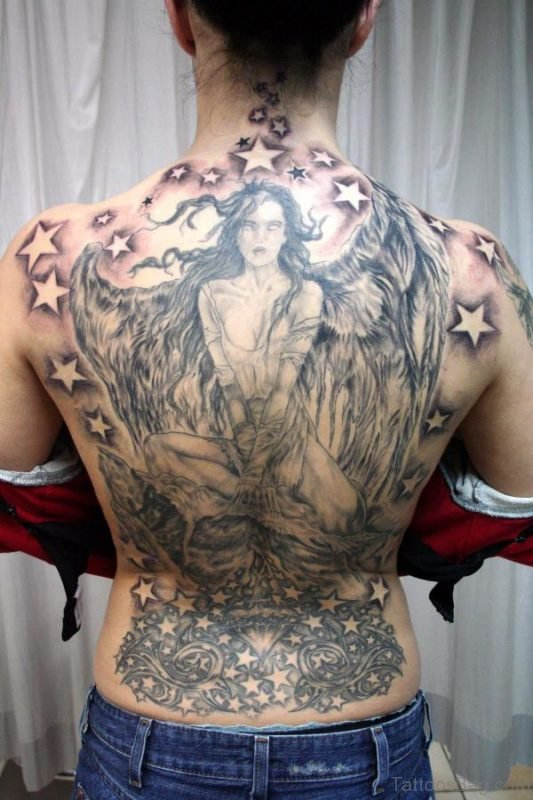 Angel Tattoo On Full Back
