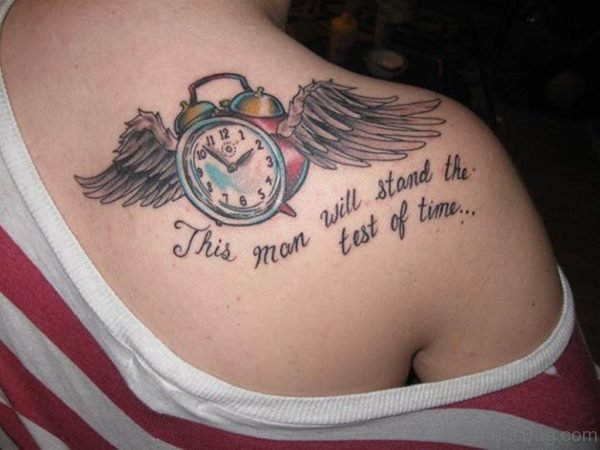 Beautiful Bell Clock With Wings Tattoo On Back