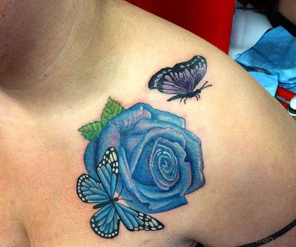 Beautiful Blue Rose And Butterflies Tattoo