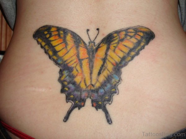 Yellow Butterfly Tattoo Design On Lower Back