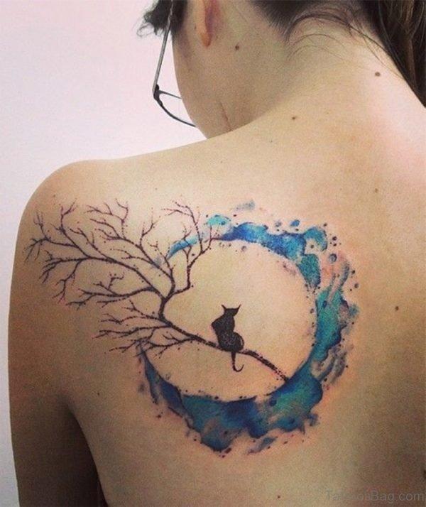 Beautiful Cat And Moon Tattoo
