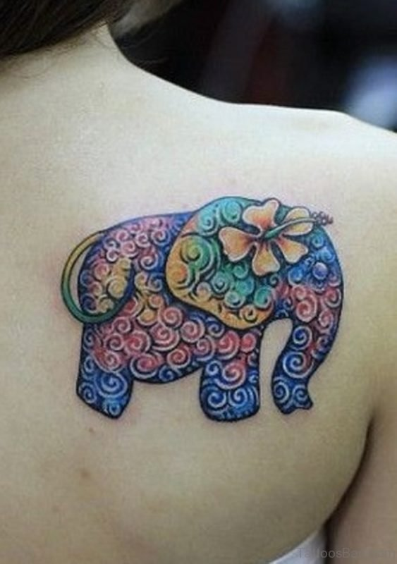 Beautiful Colorful Elephant Tattoo On Shoulder