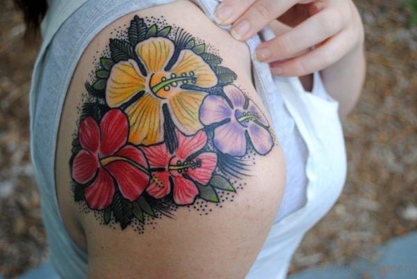 Beautiful Colorful Hibiscus Flower Tattoo