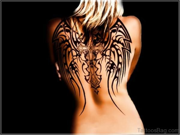 Beautiful Cross And Wings Tattoo On Back-BT114TB114