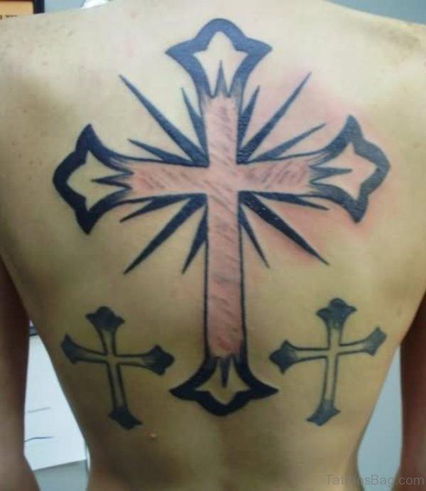 Beautiful  Cross Tattoo On Back