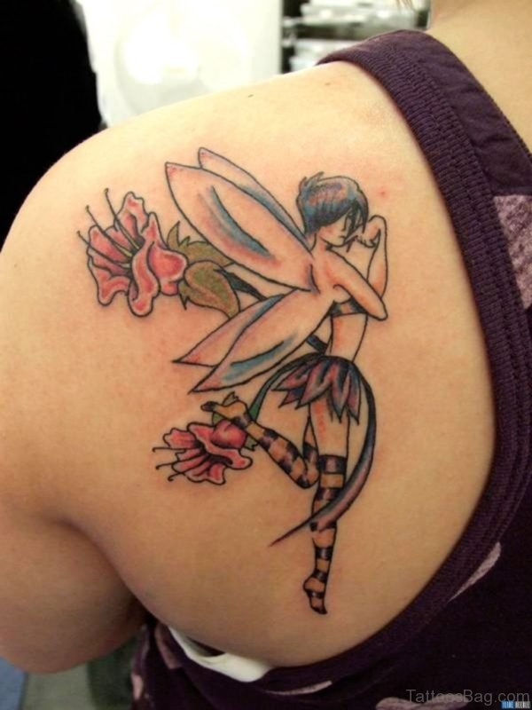 Beautiful Fairy And Flower Tattoo