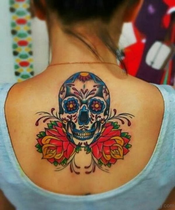 Beautiful Flower And Skull Tattoo