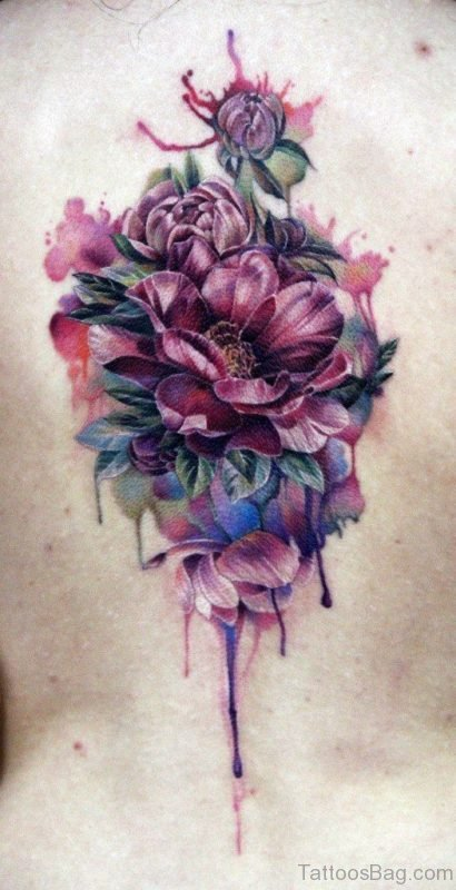 Beautiful Flower Tattoo On Back
