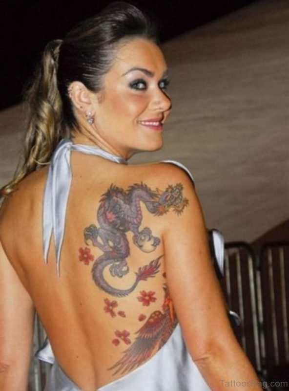 Beautiful Girl with  Dragon And Flower Tattoo