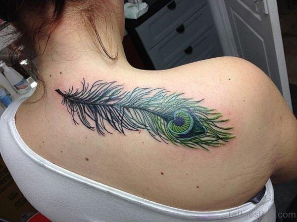 Beautiful Green Peacock Feather Tattoo