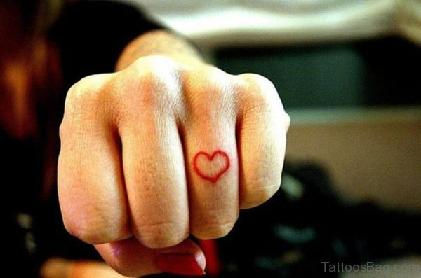 Beautiful Heart Tattoo On Finger