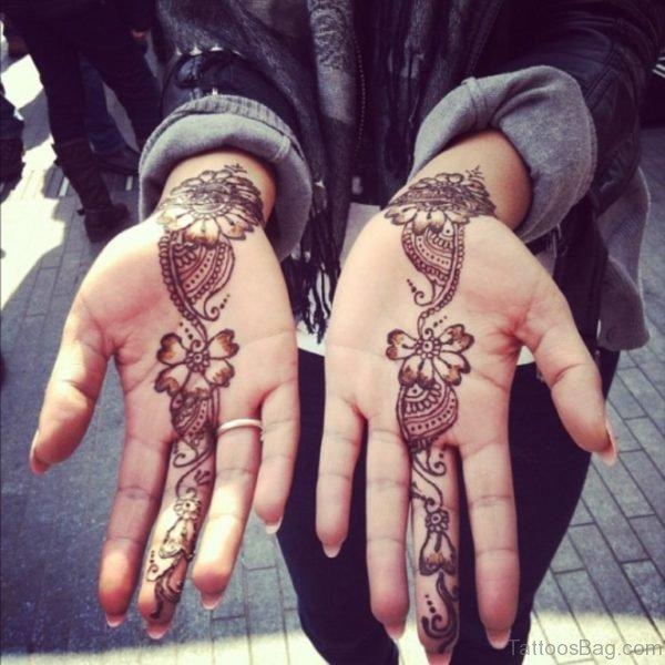 Beautiful Henna Flower Tattoo On Hand