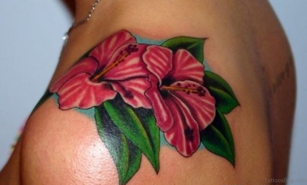 51 classy hibiscus flower tattoos for shoulder for Beautiful colorful flower tattoos