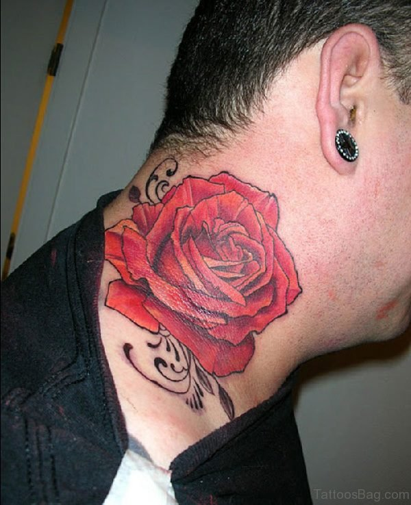 Beautiful Large Red Rose Tattoo