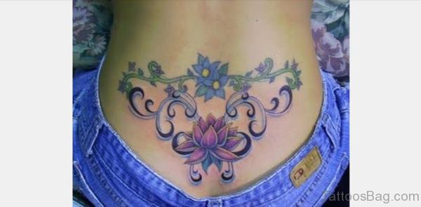 Beautiful Lotus Flower Tattoo On Lower Back