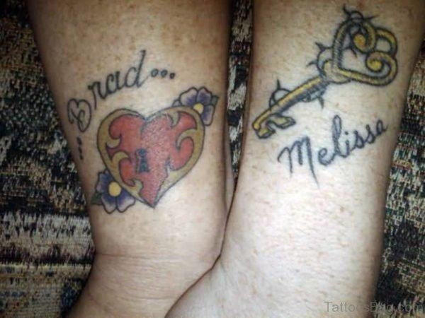 Beautiful Love Heart Key Tattoo Design On Wrist