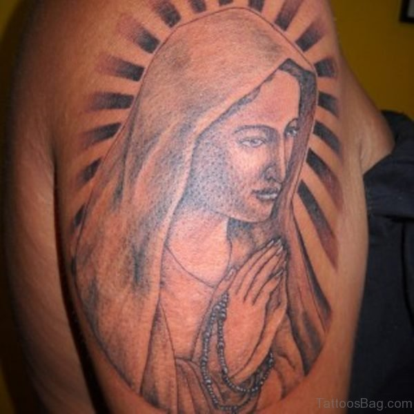 Beautiful Mary Shoulder Tattoo Design