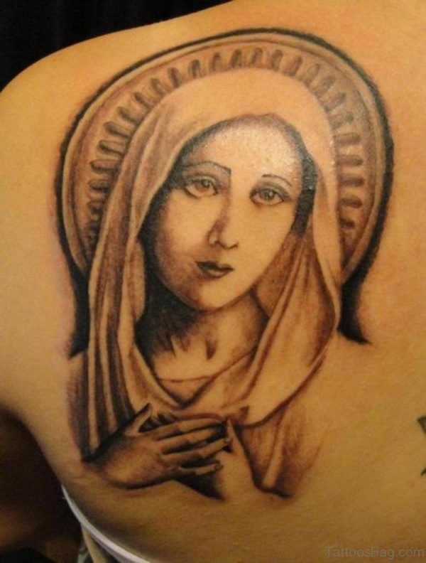 Beautiful Mary Tattoo On Shoulder