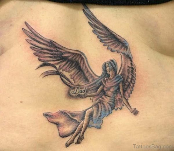 Beautiful Memorial Angel Tattoo On Back