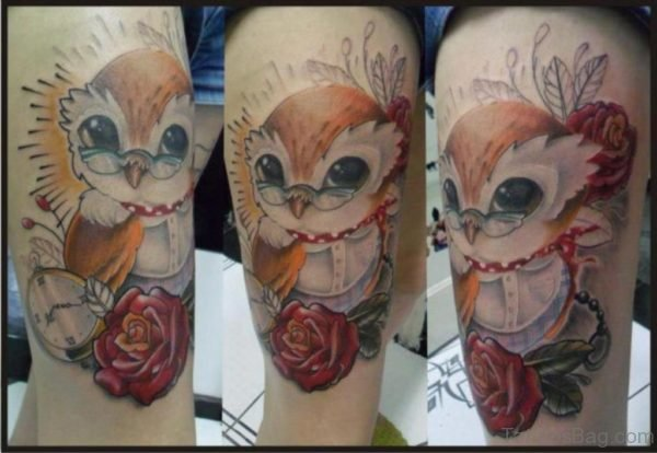 Beautiful Owl Tattoo Design On Thigh