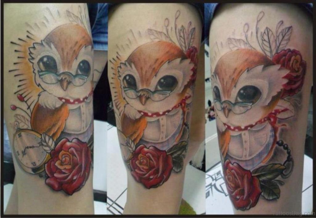 50 wonderful owl tattoos on thigh. Black Bedroom Furniture Sets. Home Design Ideas