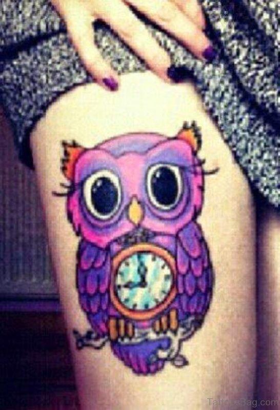 Beautiful Owl Tattoo On Right Thigh