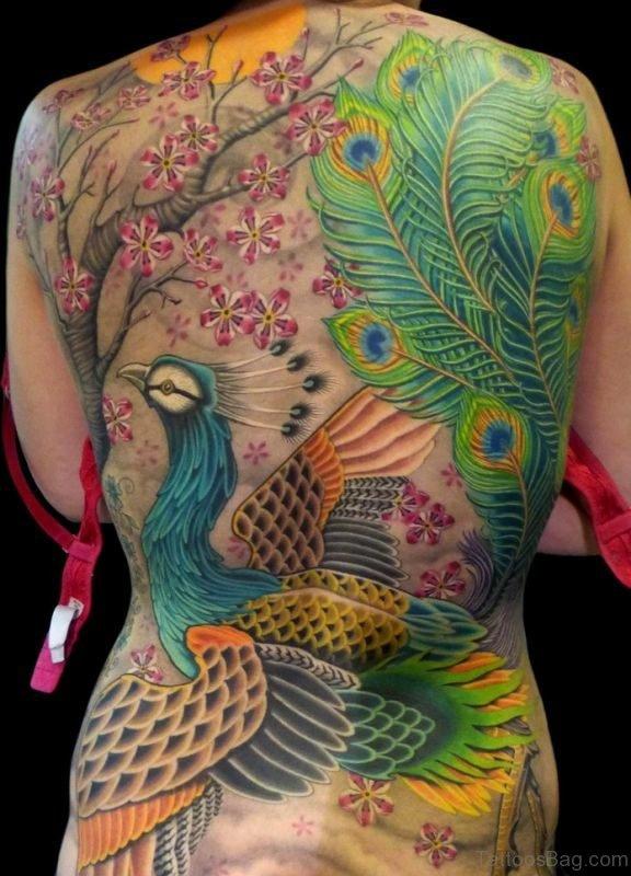 Beautiful Peacock And Cherry Blossom Tattoo