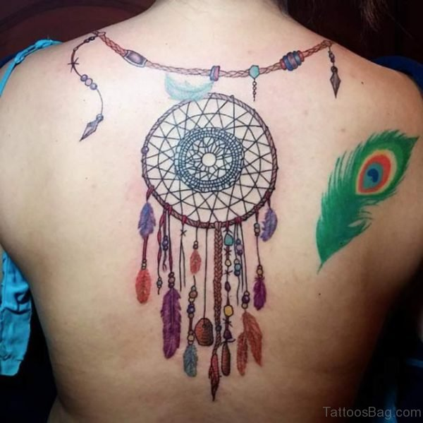 Beautiful Peacock Feather Dreamcatcher Tattoo