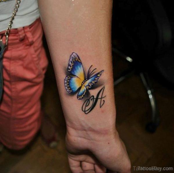 Beautiful Realistic Butterfly Tattoo On Wrist