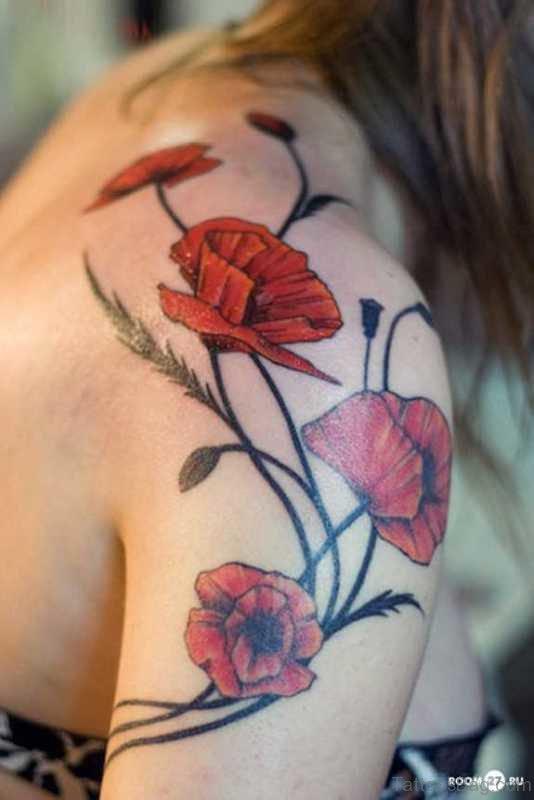 Beautiful Red Flower Tattoo