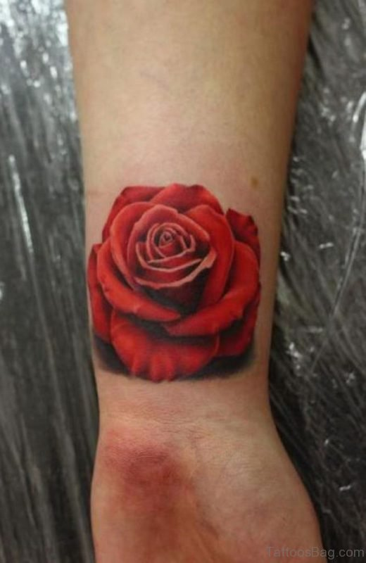 Beautiful Red Rose Wrist Tattoo