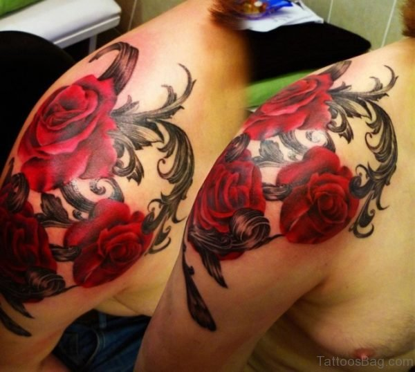Beautiful Red Roses Shoulder Tattoo