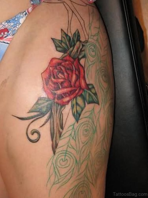 Beautiful Rose Tattoo  Design On Thigh
