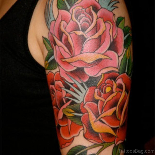 Beautiful Rose Tattoo On Left Shoulder